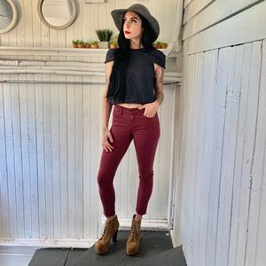 Madewell brick red skinny jeans